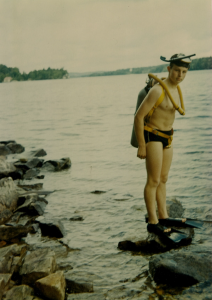 Pete Coy trying scuba diving for the first time at the age of 16
